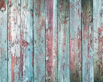 Newborns Photography Backdrop, Vintage peeling blue wood photobooth background, shabby chic wood planks children photography backdrop D-7573