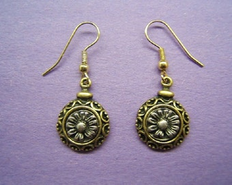 Free Shipping*, Floral Earring, Flower Jewelry, Accessories, Bohemian, Boho, Gold Tone, Silver Plate, Antique Finish, #50236,