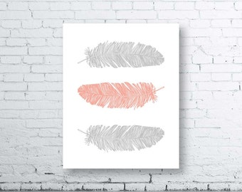 Feather Wall Art Print - Instant Download. Home Art Print. Feather Wall Art. Gray Coral Decor. Coral Gray Print. Grey Coral Decor. Modern