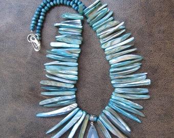 Teal blue shell bib statement necklace