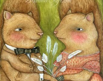"MarmeeCraft squirrels art print, ""Smitten"""