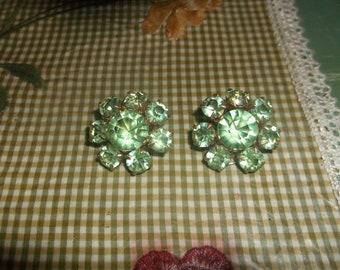 Vintage Green Rhinestone clip on earrings