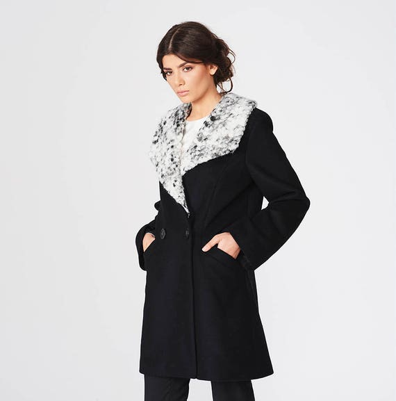 for Clothing Winter Coat Coat Modern Womans with Overcoat Fashion Women Warm Breasted Coat Collar Her Double for Wool Midi Burgundy xPpEa