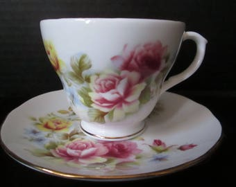 Vintage Duchess Floral Bone China Teacup & Saucer. Made in England.  Perfect for your Next Garden Tea Party