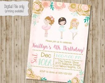 Gold Floral Ballerina Girl Birthday Invitation, Ballerina Birthday invite, Watercolor, Floral, Shabby Chic, Ballerina Birthday Invitation