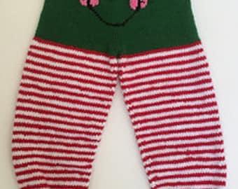 Knit Elf Pants, Christmas Pants, Green Elf Pants, Toddler Elf Pants, Girl Elf Pants (Size: 2-3T/KEP-006)