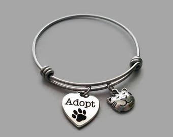 Cat Charm Bracelet, Cat Bracelet, Adopt, Animal Rescue, Cat Rescue, Pet Adoption, Stainless Steel Bangle, Animal Adoption, Charm Bangle