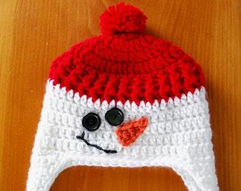 Snowman Hat, Snowman Earflap Hat, Crochet Snowman Hat, Winter Hat for Baby, Winter Hat for Child, Baby Gift Idea, Baby Shower Gift Idea, Hat