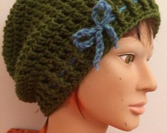 Crocheted Green Slouch Hat 32/16