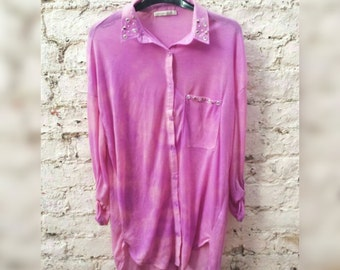 Shirt Tie Dye Pastel Lilac & Pink Top Womens to fit UK size 12 or US size 8 Pastel Goth Grunge Kawaii Clothing Summer Festival