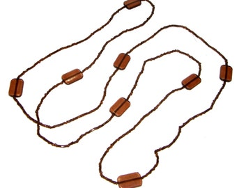 Brown Necklace / Long Brown Bead Strand - SALE - C221