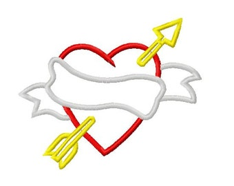 Valentines Banner Heart with Arrow Embroidery Applique Design