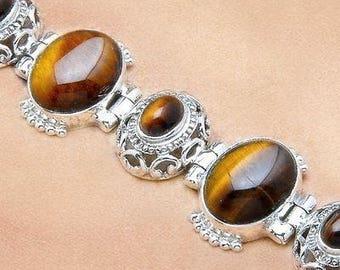 Tigereye and Sterling Silver Bracelet