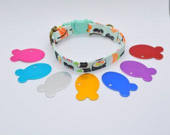 Cat collar,personalized breakaway cat collar,cat collars and tags,kitten collar,cat collar with bell,fish pet tag,cat collar id tags
