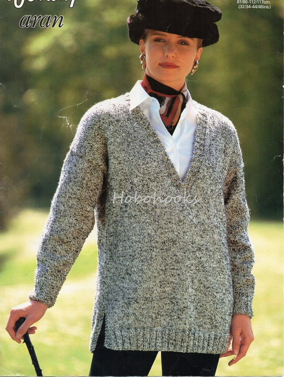 Womens Knitting Pattern Pdf Long V Neck Sweater Side Vents Ladies