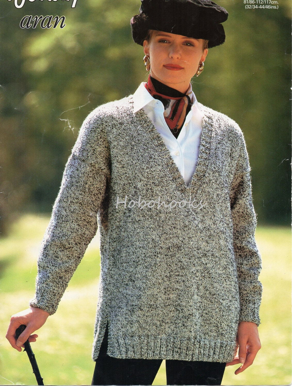 Womens Knitting Pattern pdf Long V Neck Sweater Side Vents ladies ...