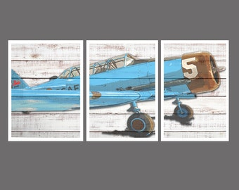 Vintage Airplane Wall Art, Boys Bedroom Wall Art, Playroom Wall Art, Vintage Airplane Print, Vintage Airplane Decor, Shabby Chic Decor,