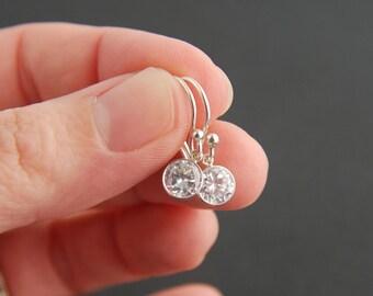 Cubic zirconia earrings, sterling silver bezel set crystal earrings, cz earrings, bezel set earrings, bridal jewelry