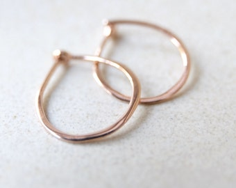 Micro Solid 14k Rose Gold Hoops -  3/8 Inch Hand Forged Solid Gold Hoops – 14 Karat Red Gold Hoop Earrings