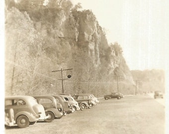"""Vintage Snapshot """"Along Route 1"""" Vintage Cars Parked Along Beach Road Original Found Photo Vernacular Photography"""