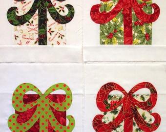 Christmas Presents Appliqued Quilt Blocks
