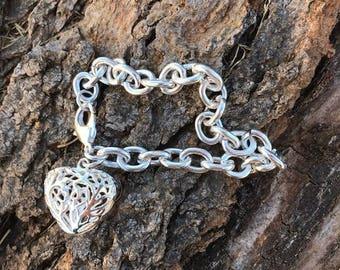 Heart Silver Bracelet, Heart Charm Bracelet, .925, Fashion Accessories, Gift, Heart Charm Bracelet
