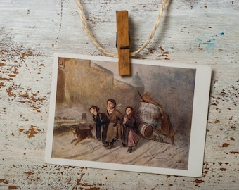 Vintage reproduction, Russian classical art, unused postcard, museum card, classic painting, Perov, scrapbooking craft paper post crossing