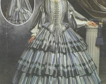 Martha McCain Womens Civil War Day Dress Simplicity Sewing Pattern 9761 Size 6 8 10 12 Bust 30 1/2 to 34 UnCut Civil War Reenactors
