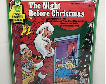 "The Night Before Christmas vintage record SEALED Peter Pan Records 7"" vinyl"