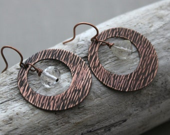Textured Circle Loop Earrings -  Darkened copper Rings with Rutilated quartz gemstones - Bohemian style jewelry -  Clear with gold streaks