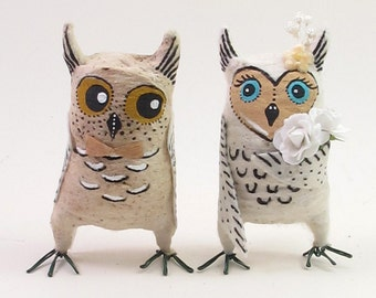 Vintage Style Spun Cotton Owls in Love Wedding Figures/Ornaments (MADE TO ORDER)