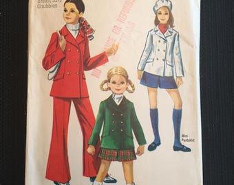 Simplicity 8480 Vintage 1969 Girls Pant Suit Pattern size 7-14