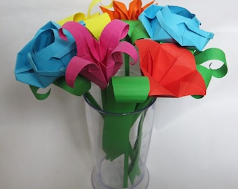 Bright Multi colour Flower Bouquet: Origami roses, gerberas, bellflowers and paper foliage