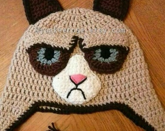 Grumpy Cat Inspired Crochet Hat Pattern in Sizes Toddler to XL Adult