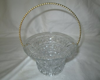 Pretty Mid Century Glass Basket with Metal handle pressed glass with buttons pattern