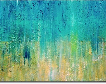 Large Canvas Wall Art Acrylic Painting Contemporary Art Textured Landscape Abstract Art Turquoise Blue Lime 40x20x1,5 (100cmx50cmx3,6cm)