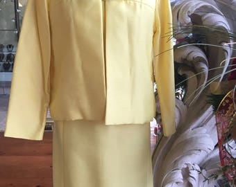 Vintage 1960s Tailored Yellow Beaded Dress & Jacket B. Siegal 36 Bust