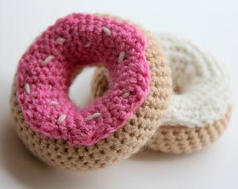 Crochet doughnut, amigurumi doughnut, crochet play food, pretend play, toddler toy, newborn toy, crochet food, set of 2