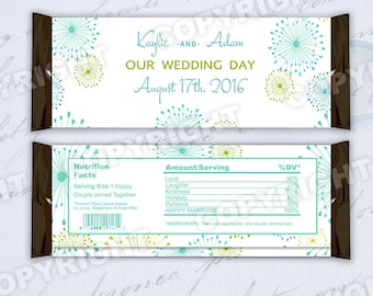 10 Teal and Lime Green Starburst Design Wedding Large Hershey Candy Bar Wrappers