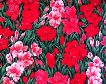 BTHY Red Gladiolus - Timeless Treasures Fabrics 100% Cotton