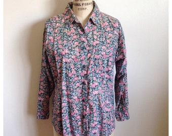 Vintage 90s floral long sleeve button up