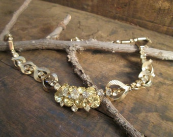 Vintage Gold Tone Sarah Coventry Yellow and Clear Rhinestone Necklace