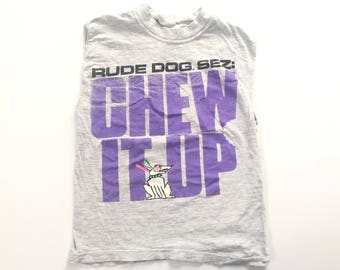 1990s RUDE DOG SEZS Chew It Up 100% Rude Distressed Vintage Crop Top T Shirt // Size Xxsmall