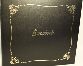 12x12 Black Scrapbook with Gold Scroll