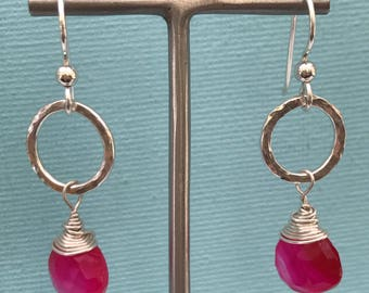 Handmade hot pink chalcedony and silver drop earrings, Simple earrings, Classic