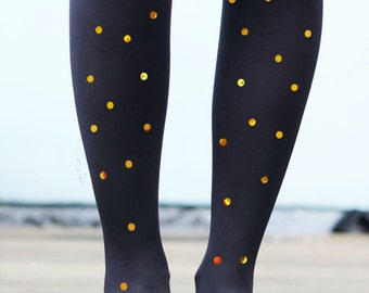 Sparkly Spotted Polka Dot Tights in Metallic Gold or Silver