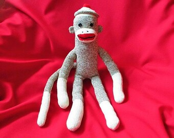 Sock Monkey Frank - Handmade - Stuffed Toy Animal Rockford Red Heel Socks