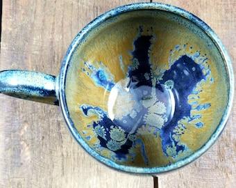 Blue Ceramic Mug, Coffee Mug, Coffee Cup, Ceramic Cup, Pottery Mug, Pottery Coffee Mug, Tea Cup, Tea Mug, Blue Pottery Mug