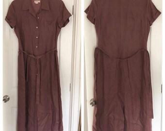 Vintage Brooks Brothers 100% Linen Shirt Dress