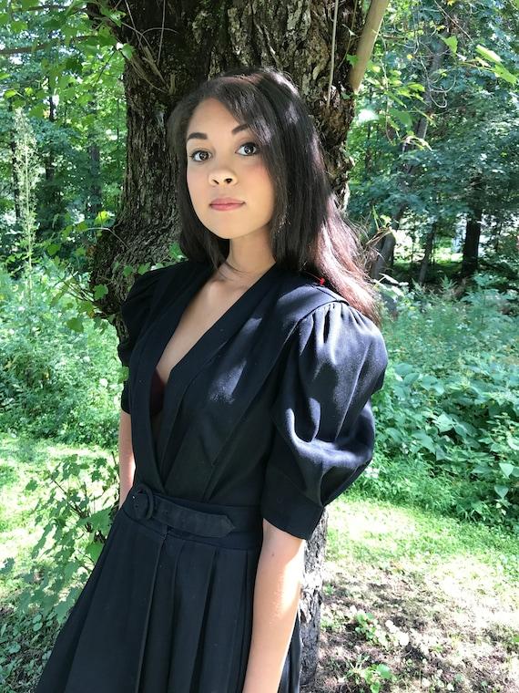 Cotton Poplin Dress Black / PUFF SLEEVE dress / s - l